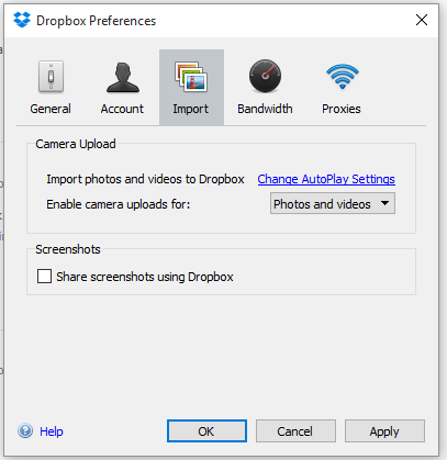 dropbox disable share image