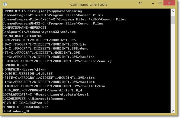 command line tools houdini